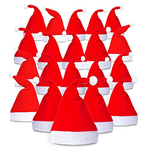 Santa Hat - 20 Pack - Plain Design - Red & White - Wear at A Christmas Party - Perfect Accessory for Santa Claus Costume - Celebrate Xmas with Family -