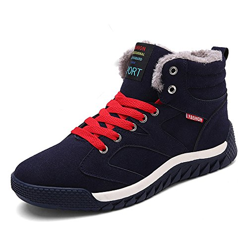 JACKSHIBO Men Fur Lined Winter Snow Boots High Top Warm Sneakers,us9.5,Blue A