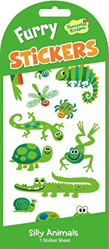 Peaceable Kingdom Furry Sticker Pack Green Animals Fuzzy Stickers -