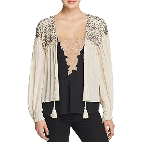 Love Sam Womens Embellished Drawstring Tie Peasant Top Ivory S by Love Sam