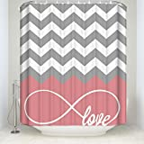 Pink and Grey Chevron Shower Curtain Crystal Emotion Love Infinity Forever Love Symbol Chevron Pattern pink Grey White Mildew resistant Waterproof Bathroom Fabric Shower Curtain Bath Curtain 48x72inch Small Stall Size
