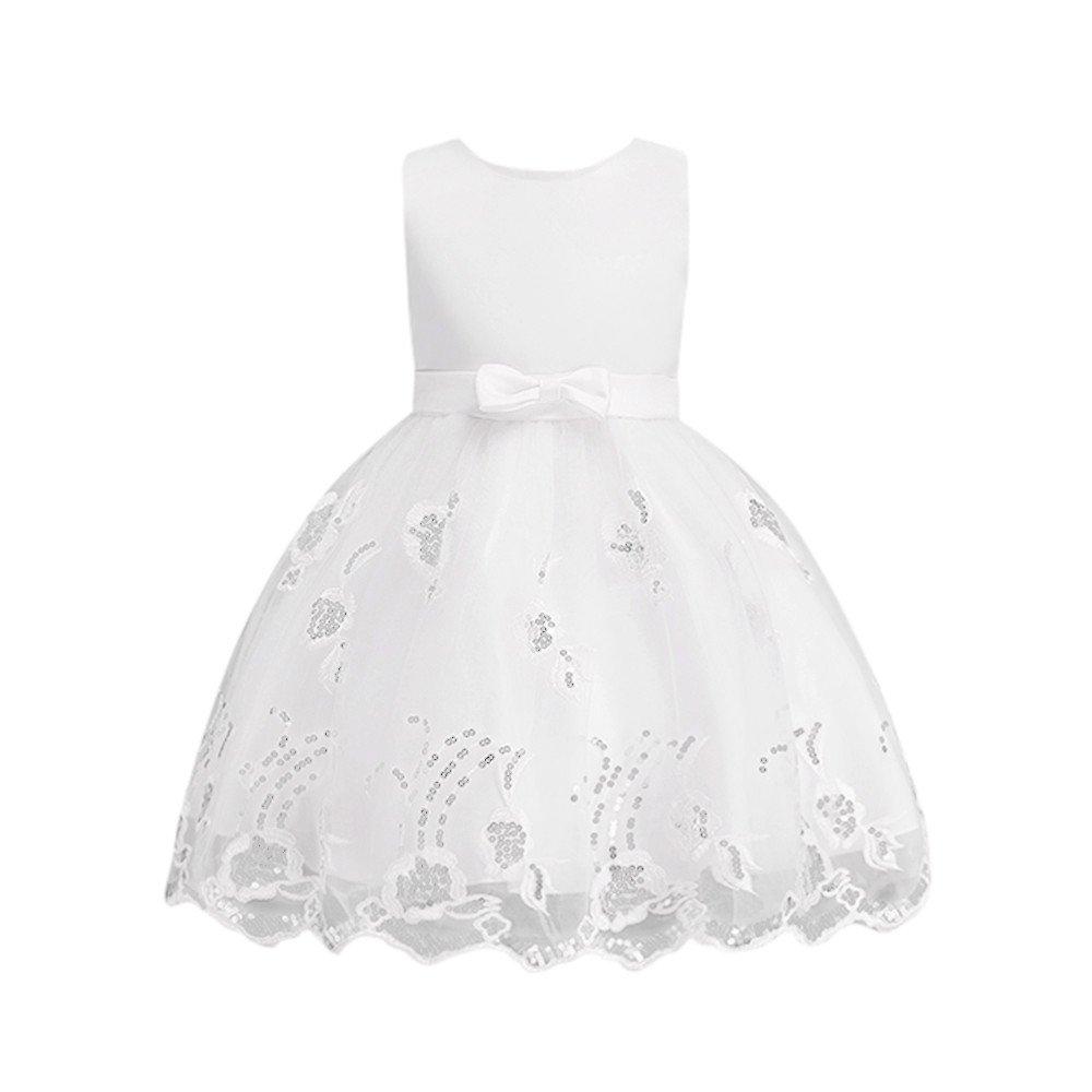 Vestido de fiesta para niña tipo princesa, con diseño de flores, para Navidad, cumpleaños, vestido con tutú, niña, 7T, B Weiß: Amazon.es: Deportes y aire ...