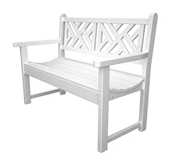 Beautiful POLYWOOD Outdoor Furniture Chippendale 48 Inch Bench, White Recycled Plastic  Materials