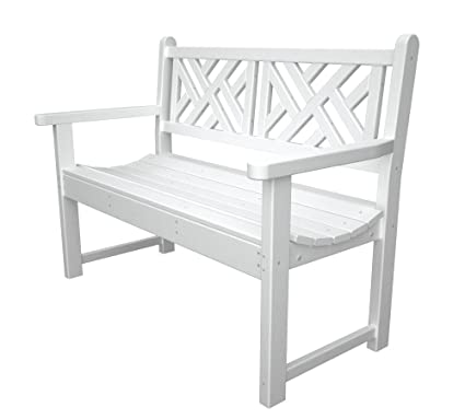 Surprising Polywood Outdoor Furniture Chippendale 48 Inch Bench White Recycled Plastic Materials Inzonedesignstudio Interior Chair Design Inzonedesignstudiocom