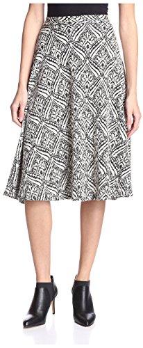 S.H.E. Soul Harmony Energy Women's Jacquard A-Line Midi Skirt, Black/Natural, S