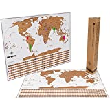 Scratch Off World Travel Tracker Map. Scratch your travels. US States, Flags and Gift Packaging
