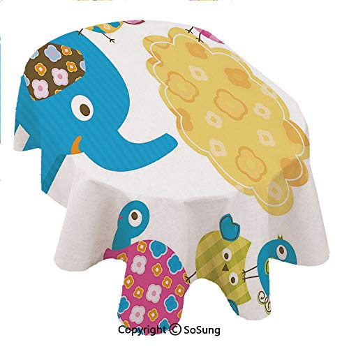 Nursery Oval Polyester Tablecloth,Diverse Cartoon Happy Animals Tortoise Elephant Lovely Yellow Cloud Drawing Style Decorative,Dining Room Kitchen Rectangular Table Cover, 60 x 84 inches,Multicolor