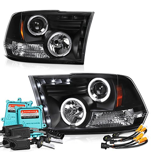 [Built-In 55Watts Canbus King Xenon HID Bulbs Low Beam] - VIPMotoZ 2009-2017 Dodge RAM 1500 2500 3500 LED Halo Headlights Headlamps, Driver and Passenger Side (Dodge Ram 3500 Cab Chassis)