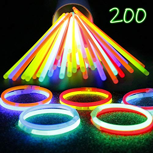 IG Light-Ups 200 Assorted Glow Stick Bracelets | Premium 8 Inch Glow Sticks Bulk Party Pack | Makes Glow Necklaces for Birthday Parties and Halloween No-Candy Treats -