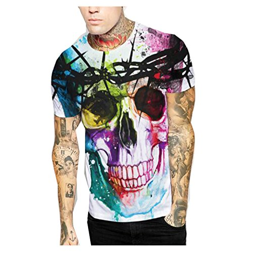 [Elakaka 3D Skull Portrait Digital Printing Loose Couple Short-sleeved(Size,L)] (Witch Coustumes)