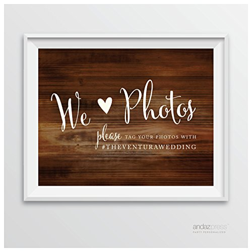 Andaz Press Personalized Wedding Party Signs, Rustic Wood Print, 8.5-inch x 11-inch, We Heart Photos, Please Tag Your Photos, 1-Pack, Custom Made Any (Rustic Heart Table D Cor)