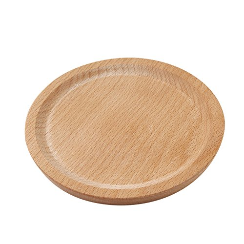 Wood Serving Tray Classic Round Square Party Dinner Plates Decorative Wooden Food Tray by Pueri (Round)