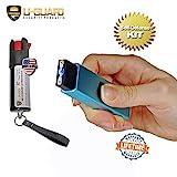 Mini Keychain Taser Slider Stun Gun Pepper Spray Self Defense Kit. Personal Non Lethal Weapons For Women Or Men. High Volt Rechargeable USB Pocket Tazer & Key Ring Strongest OC Defence Spray (BLUE)