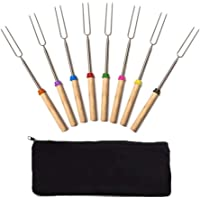 SUNFURA BBQ Marshmallow Roasting Sticks Set of 8 Stainless Steel Roasting Sticks Outdoor Hot Dog Forks 32 Inch Telescopic Skewers Camping Cookware by Wooden Handle