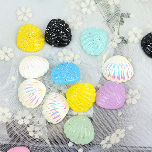 JETEHO 54 Pcs Assorted Color DIY Resin Flat Back Shell Cabochon Buttons Scrapbooking Slime Charm Embellishment Craft