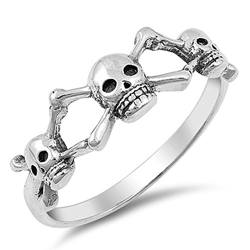 Crossbone Skull Oxidized Sterling Silver product image
