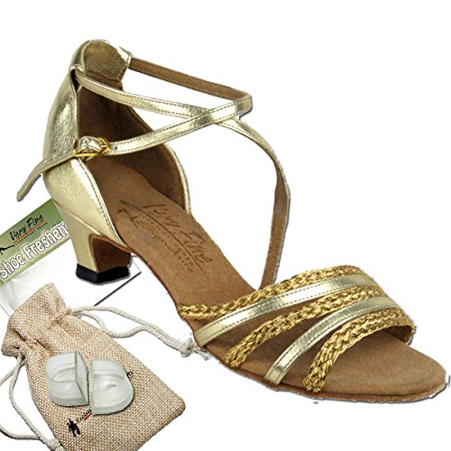 Women's Ballroom Dance Shoes Salsa Latin Practice Dance Shoes Gold Leather & Gold Braid S9278EB Comfortable - Very Fine 1.2