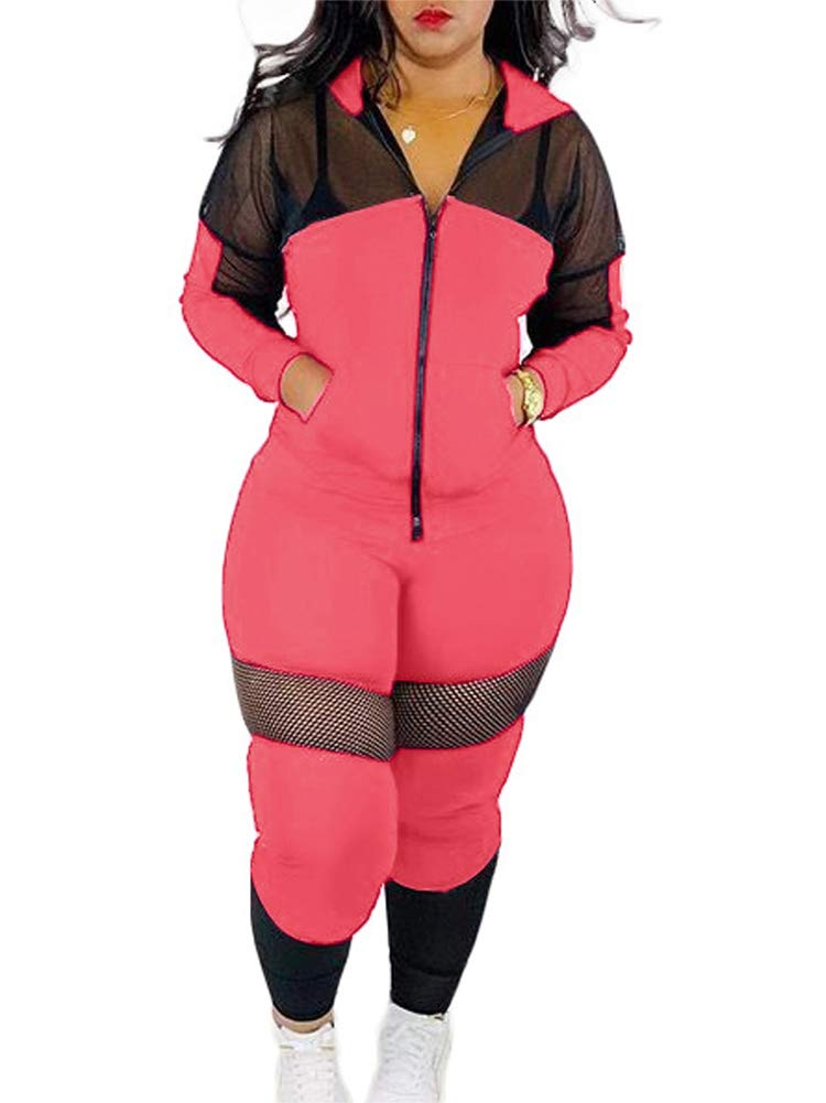Womens Casual Hoodie 2 Piece Outfits Zip-up Jacket High Waist Pencil Pants Tight Outfit Sweatsuit Set Rose Red L by NVXIYYA