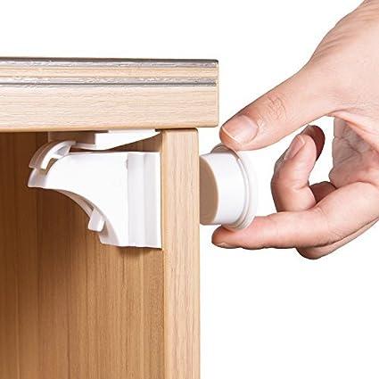 Cierres magnéticos para armarios y cajones de seguridad para niños (6 cerraduras + 2 llaves