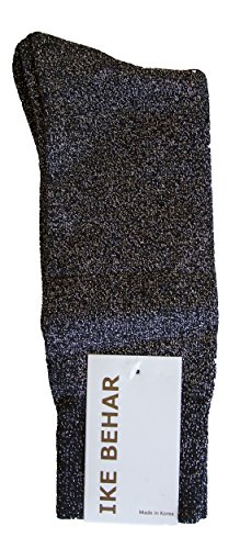 Ike Behar Men's Designer Glitter Dress Socks, Silver from Ike Behar