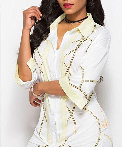 rtro Hellomiko dcontracte pour Style Chemise Femmes F Ethnique mi Longues Courtes Manches Manches imprim Chemise 8r8wqnOXf