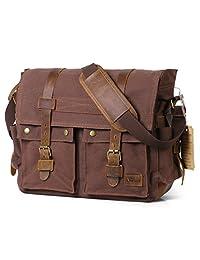 "Lifewit 17.3"" Men's Messenger Bag Vintage Canvas Leather Military Shoulder Laptop Bags"