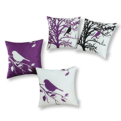 CaliTime Set of 4 Soft Canvas Throw Pillow Covers Cases for Couch Sofa Home Decoration Shadow Bird Tree Branches Silhouette 18 X 18 Inches Purple (Pillows Toss Purple)