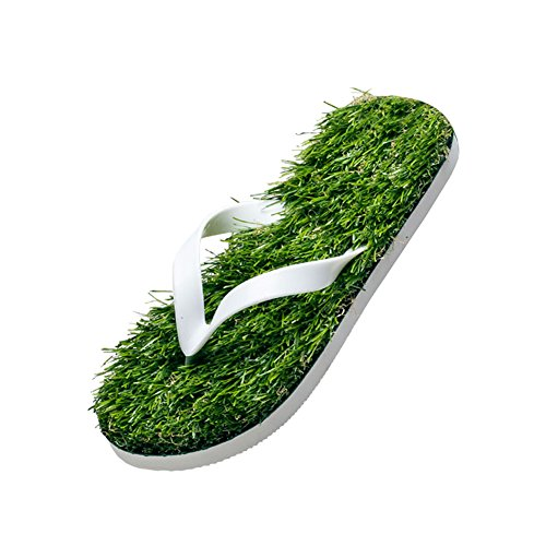 c0ec84400 fereshte Summer Casual Artificial Lawn Grass Flip Flop Sandals For Women  Men White EU 40