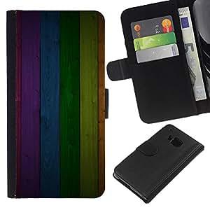 iBinBang / Flip Funda de Cuero Case Cover - Texture Panel Rainbow Lines Pattern - HTC ONE M7