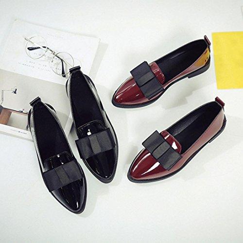 Besde Dames Puntschoen Oxford Schoenen Casual Comfortabele Slip Platte Schoenen Zwart
