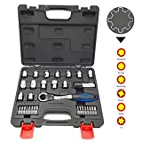 JENLEY Universal Pass-through Spline Socket Set,Bits Set,Works with Spline Bolts,6-Point,12-Point,Torx,Square Damaged Bolts and Any Size Standard,8mm-19mm,5/16-Inch - 3/4-Inch,32-Piece