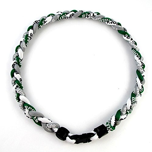 Twisted 3 Rope Braided Titanium Ionic Sports Bracelet Baseball Bracelet (Grey/Dark Green/White, 8inch)