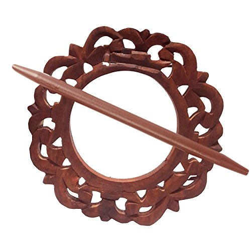 Decorative Rounded Wooden Curtain Tiebacks Curtain Holder Carving Work Holdbacks Curtain Holder Brown Color Size 6 X 6 Inch by IndiaBigShop (Image #3)