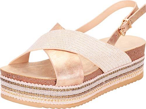 Gold Gem Wedge - Cambridge Select Women's Open Toe Crisscross Strap Slingback Beaded Chain Mixed Media Flatform Sandal (10 B(M) US, Gold)