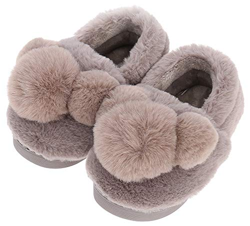 - UIESUN Cute Pom-pom Unisex Toddler Kids Slippers Shoes for Boys Girls House Slipper Brown 14/15