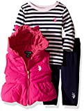 U.S. Polo Assn. Baby Girls' 3 Piece Puffer Vest, Long Sleeve Top, and Legging Set, Very Berry, 3-6 Months