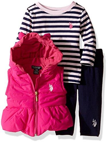U S Polo Assn Baby Girls 3 Piece Puffer Vest Long Sleeve Top