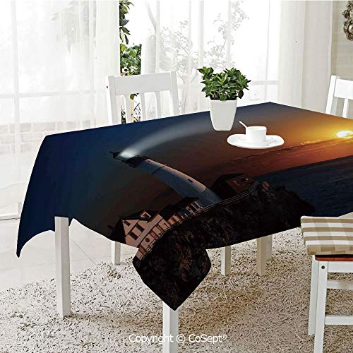 - SCOXIXI Wrinkle Free and Stain Resistant Tablecloth,Portland House at Dawn Rocks Houses Fences Lamp Image Navigation,Spill Proof,Machine Washable,Tablecloth for Use(60.23