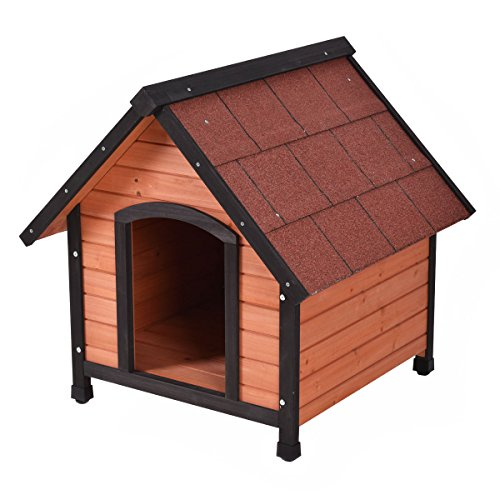 Tangkula Dog House Pet Outdoor Bed Wood Shelter Home Weather Kennel Waterproof 4 Size (S)