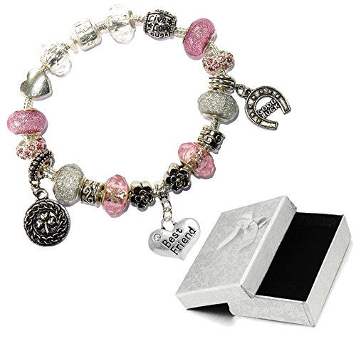 Charm Buddy Best Friend Pink Silver Crystal Good Luck Pandora Style Bracelet With Charms Gift Box by Charm Buddy