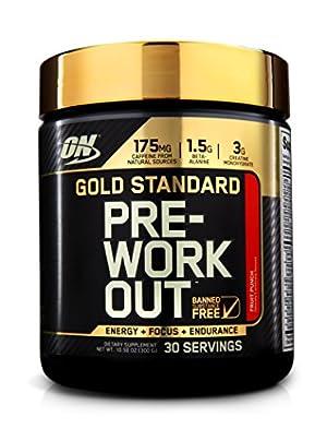 Optimum Nutrition Gold Standard Pre-Workout 30 Serve Supplement, Fruit Punch, 300 Gram