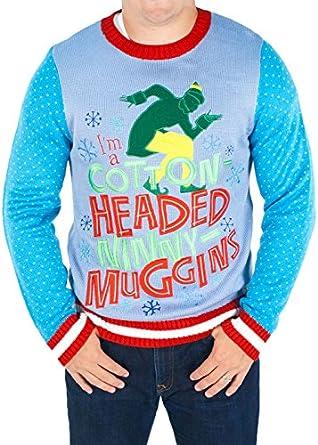 Men's Elf the Movie Cotton Headed Ninny Muggins Sweater (Blue ...