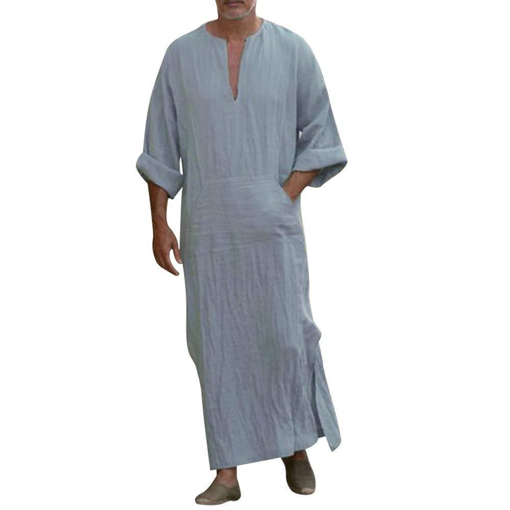 Vestidos Ropa Vestido para Hombres Togas /Étnicas Rayas Sueltas Vintage Y Algod/ón Lino De Manga Corta Caftan