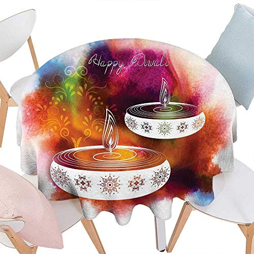 - cobeDecor Diwali Printed Round Tablecloth Abstract Rainbow Brush Strokes Like Paisley Design with Festive Fire Candles Art Flannel Round Tablecloth D70 Multicolor