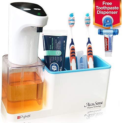 Pykal 2-in-1 Automatic Soap Dispenser Touchless & Organizer AccuSense Dispense Technology 15 oz | 1 YR Wnty & Toothpaste Squeezer Included | Luxury Gift Box for HIM or HER for Christmas
