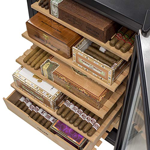 NewAir Cigar Humidor Climate Controlled with 400 Cigar Capacity - Digital Heating and Cooling Feature - Includes Spanish Cedar Shelves and Lock - CC-300H - Stainless Steel by NewAir (Image #3)