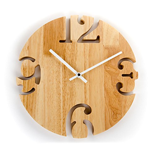 Price comparison product image Stylish,  Silent Wall Clock HomeKitchenNordic Original Wooden Wall Clock Living Room Creative Mute Clock / Wooden Wooden Wall Watch Simple Clock Wood Fashion Wall Clock,  12 inches,  Wood Color 36912