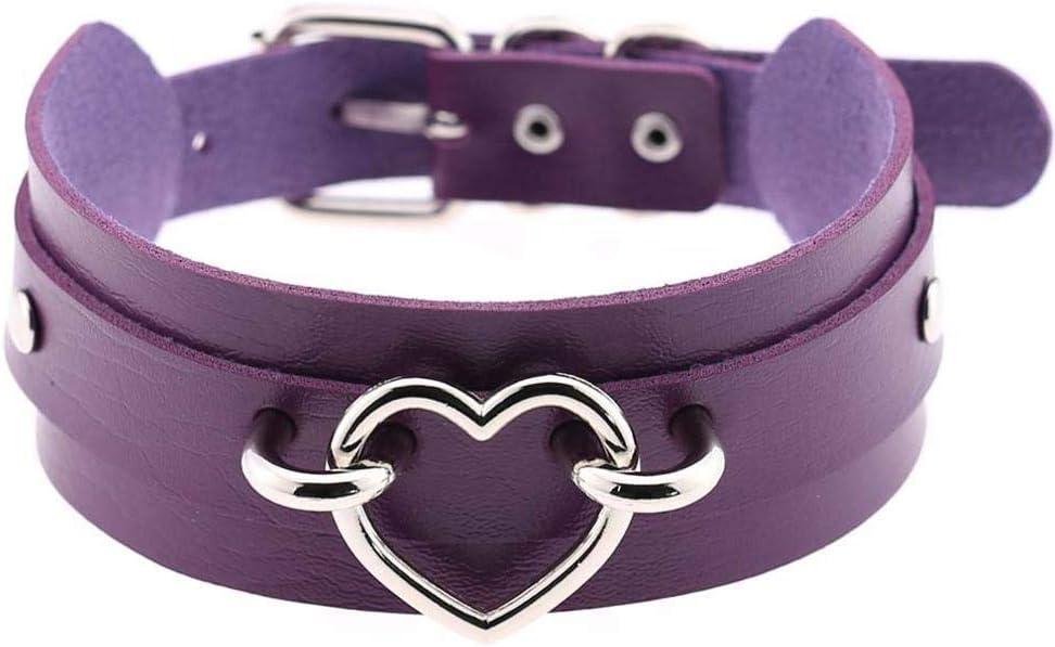 Collar de Gargantilla de corazón de Cuero sintético con un Collar de Hebilla Ajustable con Collar gótico Negro para Mujer Gargantilla Joyería gótica