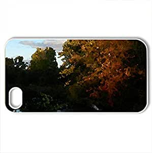 Autumn At Indian River - Case Cover for iPhone 4 and 4s (Rivers Series, Watercolor style, White)