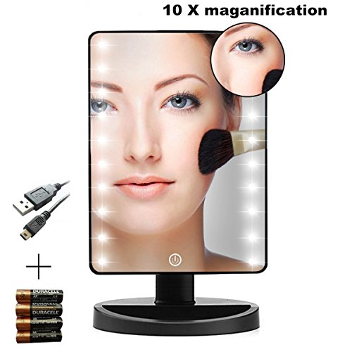 LED Makeup Mirrors, USB Charge Touch Screen 16 LED Square Desktop Cosmetic Mirror with Removable 10x Magnifying Mirrors Mothers Day Gifts (Batteries - Makeup For Wearers Glasses